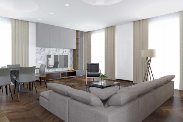 Ein Wohnzimmer, das mit Etherma ausgestattet ist